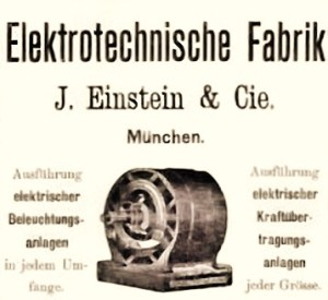 Jakob Einstein München Elektrotechnische Fabrik Annuonce