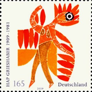 HAP Grieshaber Feuervogel 1909 - 1981 Postmarke 2009